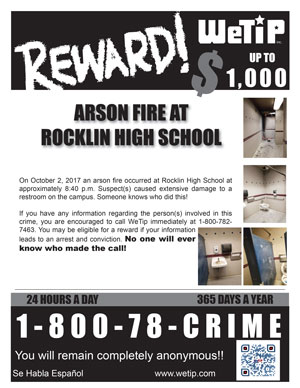 Arson: Rocklin High School Restroom Vandalized