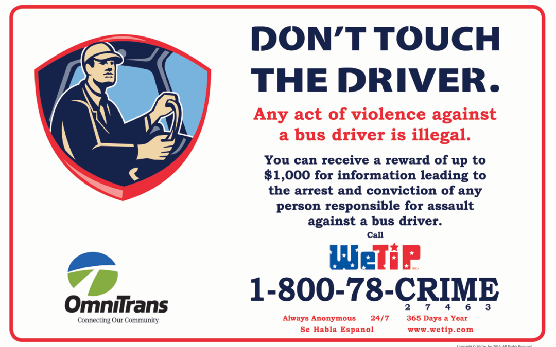 "WeTip & Omnitrans Introduces Proactive ""Don't Touch the Driver"" Safety Campaign"