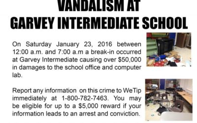 Vandalism at Garvey Intermediate School